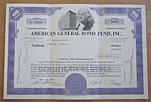 1971 American General Bond Fund Inc Stock Certificate