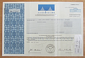 2001 Cisco Systems Stock Certificate