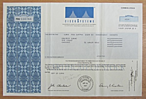 1998 Cisco Systems Stock Certificate