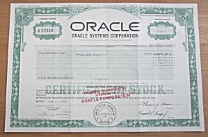 1995 Oracle Corporation Stock Certificate