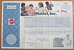 1996 Mattel Incorporated Stock Certificate