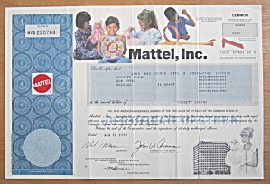 1995 Mattel Incorporated Stock Certificate