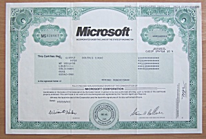 2003 Microsoft Corporation Stock Certificate