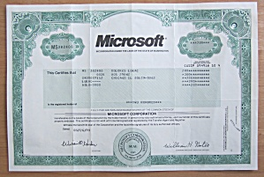 1998 Microsoft Corporation Stock Certificate