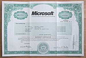 1996 Microsoft Corporation Stock Certificate