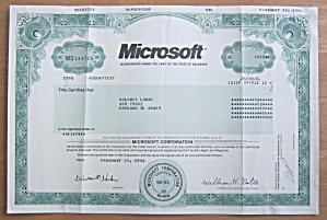 1994 Microsoft Corporation Stock Certificate