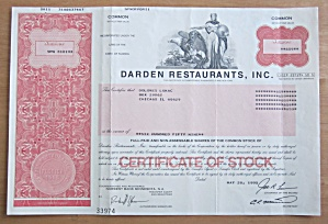 1995 Darden Restaurants Inc Stock Certificate