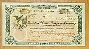 1909 Rosedale Mutual Telephone Co Stock Certificate