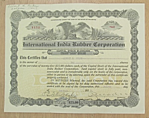 1917 International India Rubber Co Stock Certificate