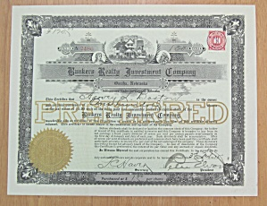 1915 Bankers Realty Investment Co Stock Certificate