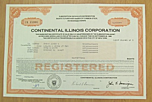 1984 Continental Illinois Corporation Stock Certificate