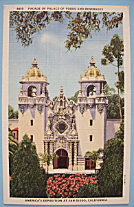 1935 California Pacific Expo Palace Of Foods Postcard