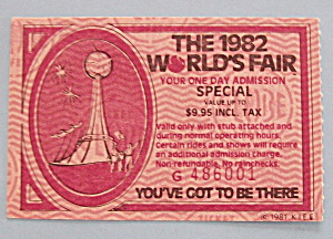 Knoxville World's Fair Ticket-1982-one Day Admission