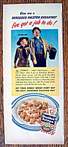 1943 Shredded Ralston With Man & Scout Walking