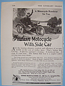 1914 Indian Motorcycle With Side Car With Man & Woman