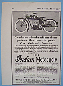 1914 Indian Motorcycle With Two Sixty Standard