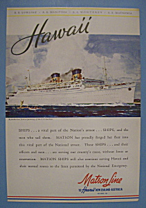 Vintage Ad: 1942 Matson Line To Hawaii