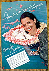 1937 Matson Line To Hawaii With Woman & Lei In Water