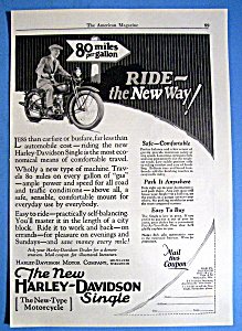 1926 Harley Davidson Single Motorcycle With Man Riding