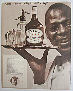 1937 Paul Jones Whiskey With A Waiter Holding Tray
