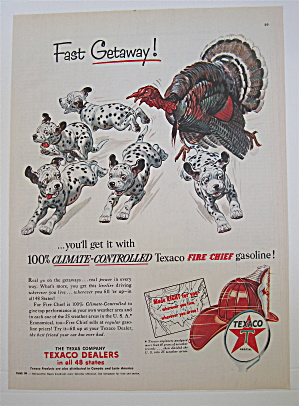 1953 Texaco Fire Chief Gasoline W/ Turkey & Dalmatians