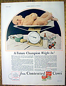1929 Carnation Milk With Baby Being Weighed On Scale