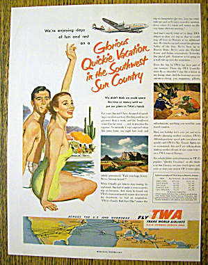 1953 Trans World Airlines (Twa) W/ Man & Woman By Pool