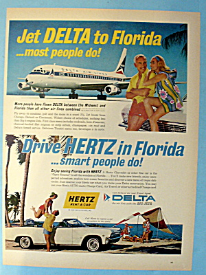 1965 Delta Air Lines W/ Hertz Rent A Car