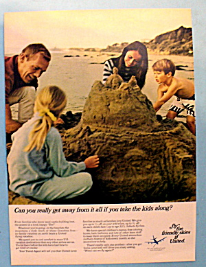 1968 United Air Lines W/ Family On The Beach