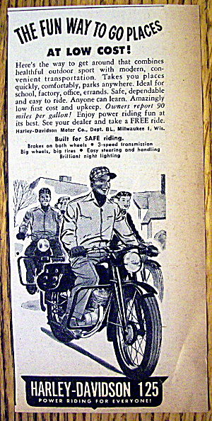 1949 Harley Davidson 125 Motorcycle With Man Riding