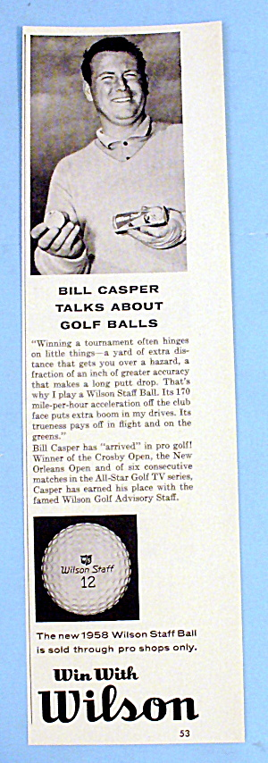 1958 Wilson Golf Balls With Bill Casper
