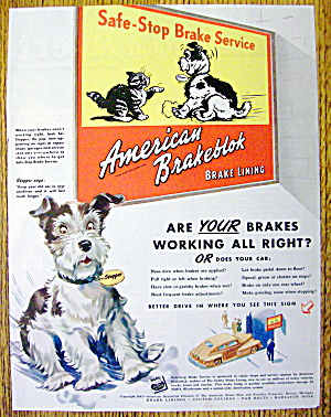 1942 American Brakeblok Brake Lining W/ Stopper The Dog