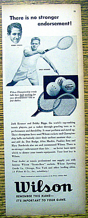 1948 Wilson Tennis Rackets & Balls W/riggs And Kramer