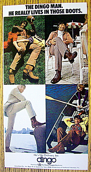 1972 Dingo Boots With Football's Joe Namath
