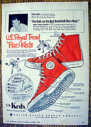 1953 U.s. Royal Tread Pro Keds With George Mikan