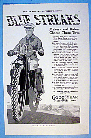 1916 Goodyear Motorcycle Tires With Motorcycle & Rider