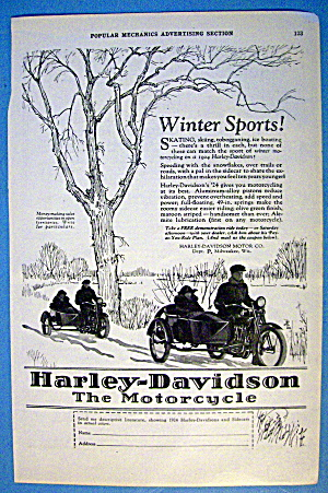 1924 Harley Davidson With Couples In Motorcycles