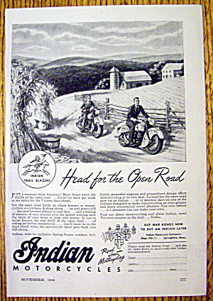 1944 Indian Motorcycle With Head For The Open Road