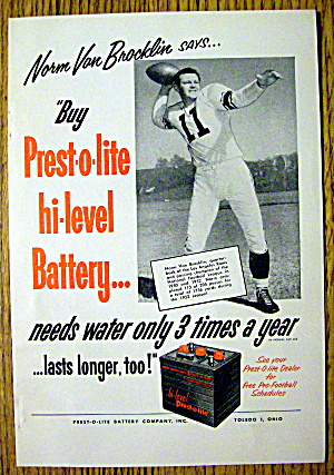 1953 Prest -o- Lite Battery With Norm Van Brocklin