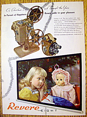 1946 Revere Eight Projector With Little Girl & Her Doll