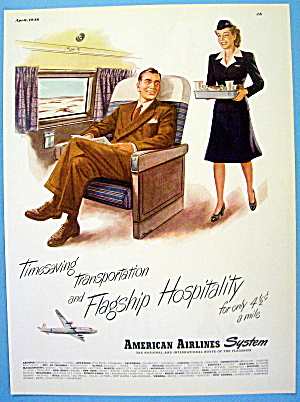 1946 American Airlines With Stewardess And Man