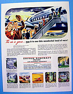 1949 United Aircraft With People Boarding Airplane