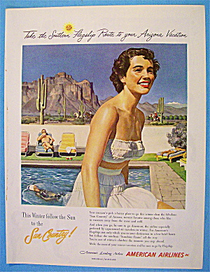 1958 American Airlines Sun Country With Lovely Woman