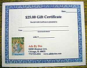 Ads By Dee $25 Gift Certificate