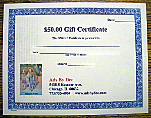 Ads By Dee $50 Gift Certificate