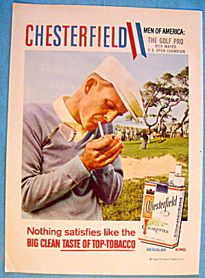 1958 Chesterfield Cigarettes With Golf's Pro Dick Mayer