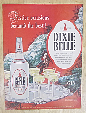 1947 Dixie Belle Dry Gin With Bottle & Glasses On Tray