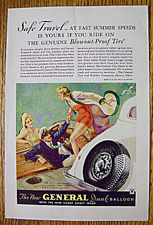 1934 General Tire With Couple Greeting Woman