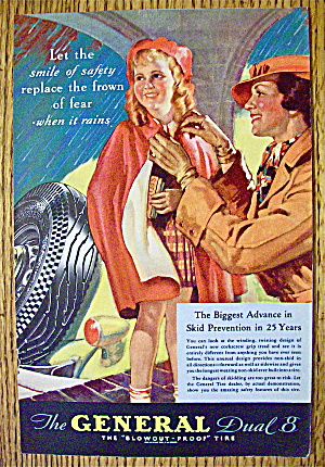 1935 General Tire With Woman Tying Girl's Poncho