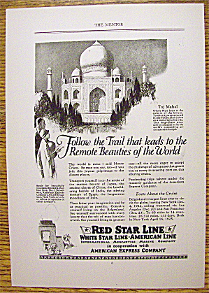 1924 Red Star Line With Taj Mahal